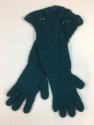 Beautiful Handmade Deep Teal Long Gloves with Crocketed Details