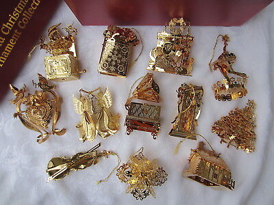 DANBURY MINT 1997 GOLD Plated CHRISTMAS ORNAMENT Collection Boxed 12 Pc SET