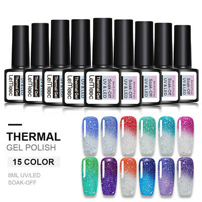 LEMOOC Rainbow Thermal Gel Polish Holographic Color Changing Nail Art Gel