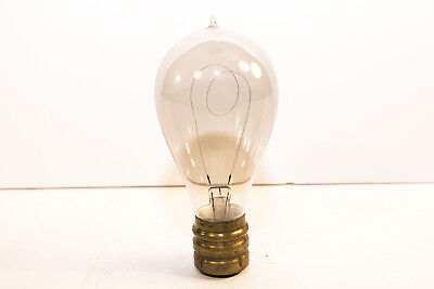 Early Incandescent Bulb With Brass Thomson-Houston Base Good Filament 1890's