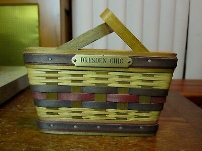 Longaberger Dresden, Ohio Souvenir Basket Decor Signed 1999 Wall Basket