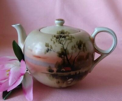 Vintage Handpainted Porcelain Teapot w/ Birds & Pond Scenery Florals JAPAN