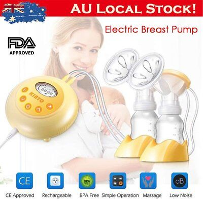 KINYO Electric Breast Pump Double Automatic Massage Suction Baby Feeder & LCD AU