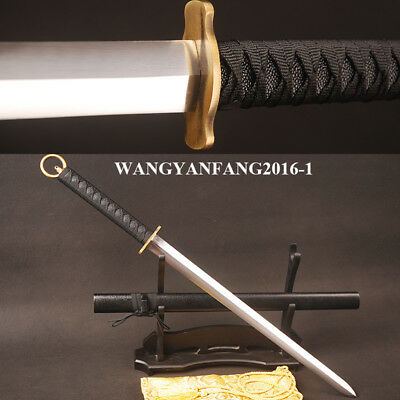Brass Cercle Tsuka Japanese Double Edged Straight Sword Carbon Steel Shiny Blade