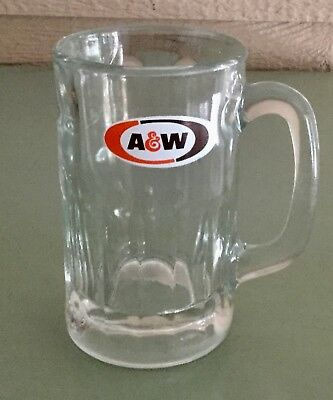 Vintage A&W Root Beer Logo Heavy Glass Tall Mug Thumbprint Design