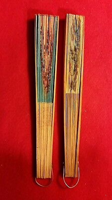Vintage Antique Lot Of 2 Chinese Japanese Oriental Fans Wood & Paper Painted