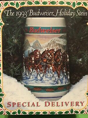 Budweiser 1993 Holiday Stein Special Delivery With Box