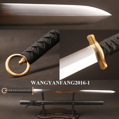 Japanese Sword Carbon Steel Shiny Double Edged Straight Blade Brass Cercle Tsuka