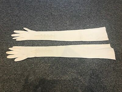 Vintage Womens gloves - full length white leather