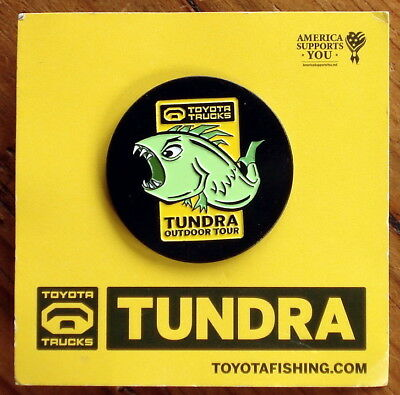Rare! TOYOTA TRUCKS TUNDRA OUTDOOR TOUR Button Pin Green Monster Fish Excellent