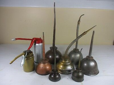 Vintage Oil Cans Thumb Pump Oilers Eagle, Golden Rod,  & More Lot of 9   USA