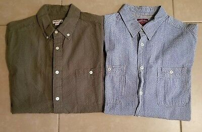 Lot of 2 Merona Men's Casual Seersucker Button Down Shirts Long Sleeve in size L