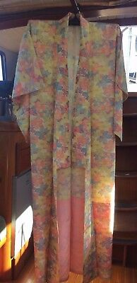 Lovely Bright Floral Patterned Vintage Japanese Full Length Kimono