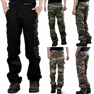 977eef42bdcd9 Men Camo Cargo Military Army Combat Trousers Wide Leg Tactical Work Hiking  Pants