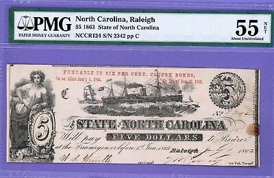 1863 $5 State of North CAROLINA, RALEIGH CIVIL WAR RARE NOTE PMG 55 About UNC.