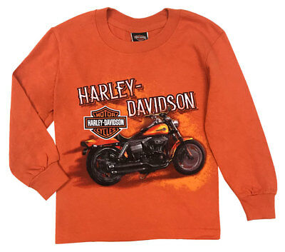 Harley-Davidson Little Boy's Hold Tight Long Sleeve Tee Shirt, Orange (2T/3T)