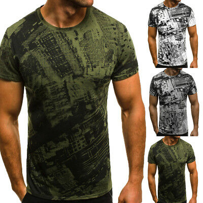 Mens T Shirt Slim Fit Casual T-shirt Tops Summer Clothes Bodybuilding Muscle Tee