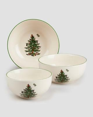 "Spode Christmas Tree Nesting Bowls Set of 3 Exclusive 5"", 5.75"", 6.5"""
