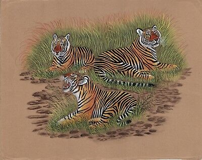 Royal Bengal Tiger Painting Hand Painted Indian Wild Life Nature Watercolor Art