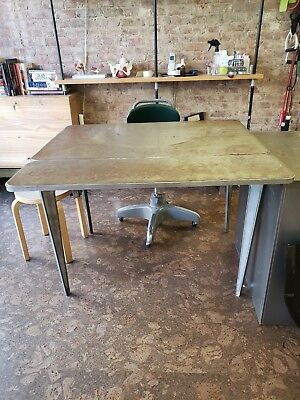Vintage 1950s metal Kitchen Table w/ silverware drawer and 2 extension inserts