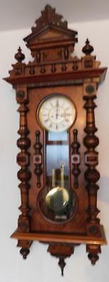 large walnut cased double weight keyhole vienna wall clock