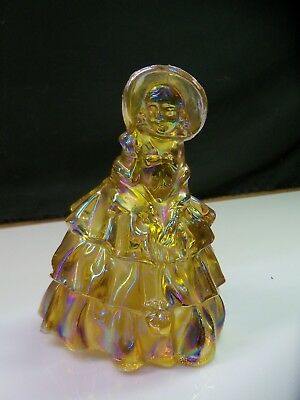 Wheaton Marigold Carnival Glass Southern Belle Lady Girl Figurine Exc Condition
