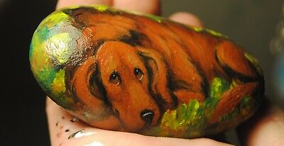 Hand Painted~Rock~Irish Setter~Dog~Original Painting~SToNE~Whimsical~mini~ART