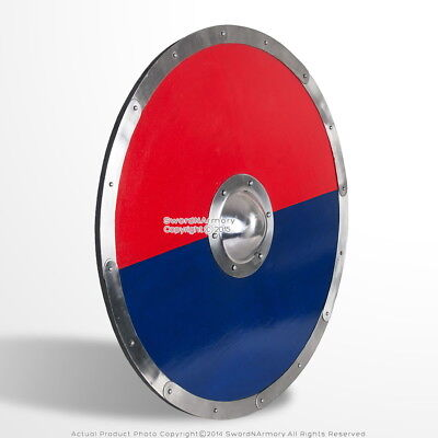 """30"""" Functional Anglo Saxon Viking Norse Wooden Shield with Steel Boss LARP SCA"""