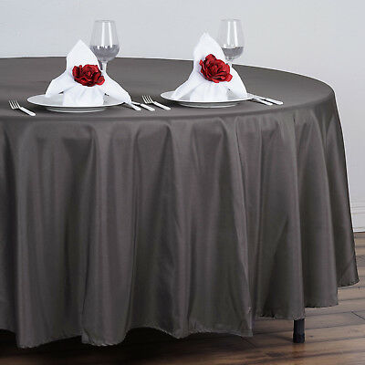 "5 Charcoal Grey 108"" ROUND POLYESTER TABLECLOTHS Wedding Affordable Tabletop"