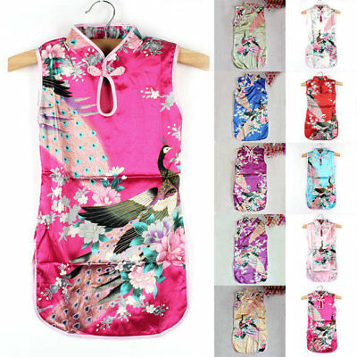 Summer Chinese Qipao Baby Girl Floral Peacock Cheongsam Dress Kids Child Clothes