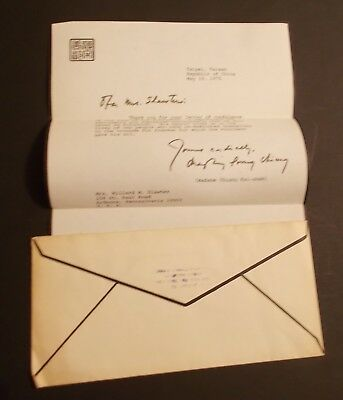 Madame Chiang Kai Shek Hand Signed 1975 Letter...1st Lady Republec of China