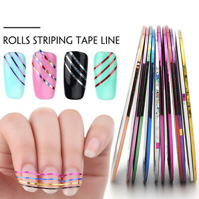 10PCS Mix Colors Striping Tape Line For Nail Art Decoration Sticker DIY Tips