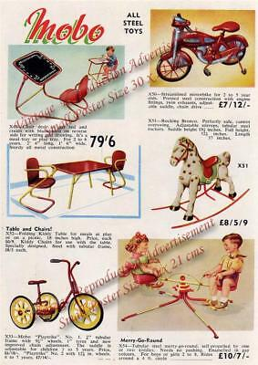 Vintage 1957 MOBO ALL STEEL TOYS ADVERTISEMENT-Trike /Motorbike - Repro 30x21cm