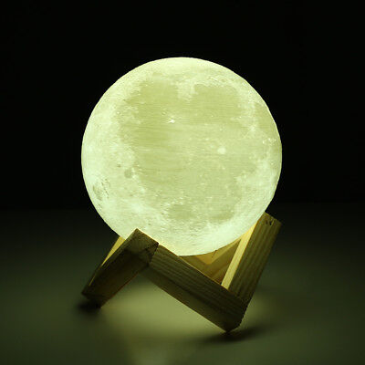 LED 3D Printing Moon Lunar Lamp Night Lights Decor Bulbs Touch Switch 2Color New