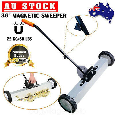 "36"" Heavy Duty Magnetic Roller Sweeper Magnet Pick Up Tool 50lbs Capacity AU"