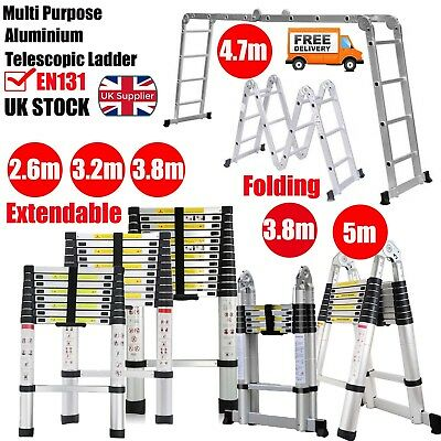New 2.6-5m Multi Purpose Aluminium Telescopic Ladder Extension Foldable EN131 UK