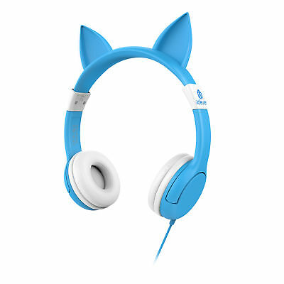 iClever Wired Kids Headphones Cat-ear Over the Ear Headsets Blue Volume Limiting