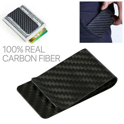 Real Carbon Fiber Money Clip RFID Blocking Card Holder Cash Wallet Slim Thin AU