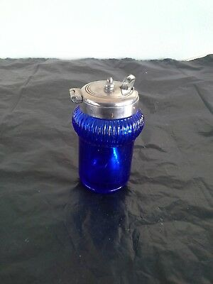"""Vintage Blue glass Mustard pot with Silver Plate spoon 3"""""""