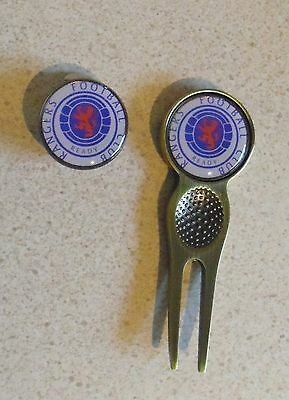 2 Golf Ball Markers Glasgow Rangers  Fc  Plus A Divot Tool &  Hat Clip