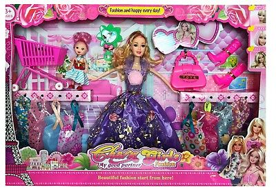 15Pc Girls Doll Fashion Play Set Accessories Jewellery Clothes Toy Gift Barbie