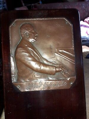 Vintage Copper Plaque Alfred Grunfeld Austrian Pianist Composer 1852-1924 Signed