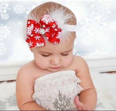 Baby girl toddler CHRISTMAS headband hairband elastic stretchy Diamante New