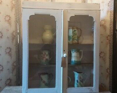 Antique Victorian chippy painted wall shelves with glass doors