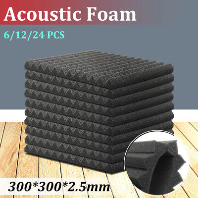 6/12/24PCS Acoustic Foam Home Sound Stop Absorption Treatment Proofing Square