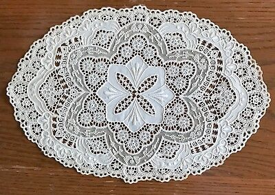 Antique Lace  Doily Lace Antique White 9 X 13-1/2 Inches Victorian
