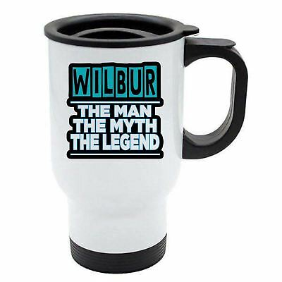 Wilbur - The Man, The Myth, The Legend - White Reusable Travel Mug
