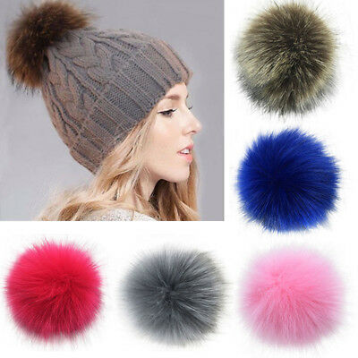 Women Large Faux Raccoon Fur Pom Pom Ball with Press Button for Knitting Hat DIY