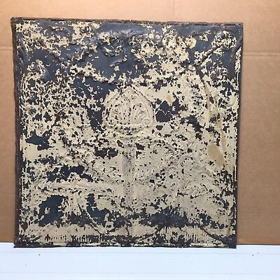 """Torch 1pc 24"""" x 24"""" Full Piece Antique Ceiling Tin Vintage Reclaimed Salvage Art"""