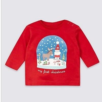 "New Baby Top ""My First Christmas"" Red Cotton Long Sleeved Marks And Spencer"